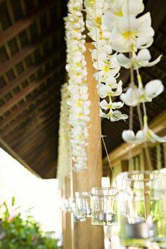 Frangipani and Tea light garland