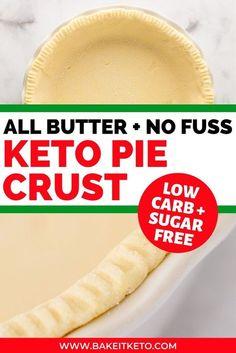 Low Carb Sweets, Low Carb Desserts, Low Carb Recipes, Coconut Flour Pie Crust, Coconut Flour Recipes, Almond Flour, Coconut Oil, Low Carb Pie Crust, Gluten Free Pie Crust