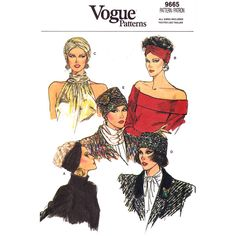 Turban and Hat Pattern Vogue 9665 Pleated or Twisted Turban Wrap Lined Hat XS S M L UNCUT #VoguePatterns #Turbans #Vintage Patterns