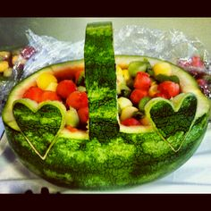 Watermelon Fruit Basket. I used to LOVE IT when my mom made these as a kid, so I'm going to ask my mom (or I'll make it myself) to make it for me for my bridal shower :)