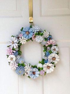Summer Pinecone Zinnia Wreath