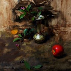 Vase, Leaves, & Red by David Cheifetz Oil ~ 12 x 12