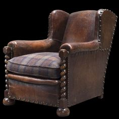 Oak and Leather Wingback Arm Chairs For Sale 1 Swivel Rocker Recliner Chair, Sofa Chair, Armchair, Accent Chairs For Living Room, Formal Living Rooms, Cheap Adirondack Chairs, Interior Architecture, Interior Design, Leather Club Chairs