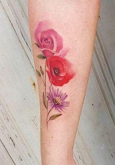 Jemka tattoo flower Flower Tattoos, Kiwi, Tattoo Artists, Watercolor Tattoo, Tatting, Canvas, Flowers, Tela, Floral Tattoos