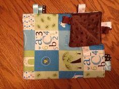 Blue ABC Taggie Blanket by BlanketsbySheryl on Etsy, $15.00
