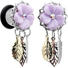 00 Gauge Aurora Gem Purple Petal Flower Leaf Feather Dangle Plug Set