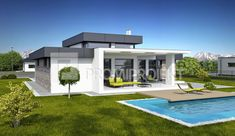veľkopriestorový bungalov Pool House Designs, Small House Design, Dream Home Design, Modern House Design, Architect Design House, Small Modern House Plans, House Plans Mansion, Flat Roof House, Modern Bungalow House