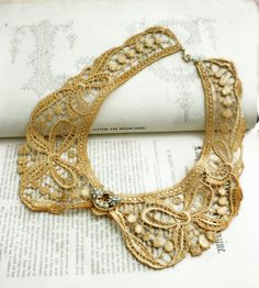 lace collar necklace PATRICE amber by tinaevarenee on Etsy, $36.00