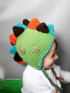 DINOSAUR HatBaby boy hats  BOYS Hat Toddler Hat by 2badmonkies, $35.00