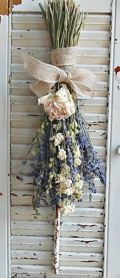 Dried Lavender Bouquet with Dried Larkspur and Peony / Dried Flower Arrangement A dried French lavender bouquet is just the right touch for Spring. Shabby Chic Decor, Rustic Decor, Farmhouse Decor, Dried Flower Arrangements, Dried Flowers, Diy Shutters, Repurposed Shutters, Wooden Shutters, Shutter Wall Decor