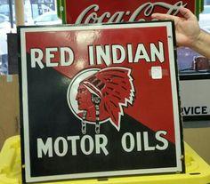 Rare Red Indian Motor Oils Porcelain Sign