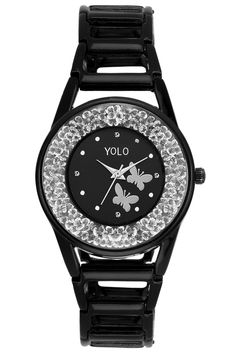YOLO Women's Black Dial Analog Wrist Watch with Black Metal Strap Is A Unique And Innovative Product In The Wrist Watches Market. This Amazing, Stylish Fashion Watch Has Arrived To Complement Your Look And Attitude.