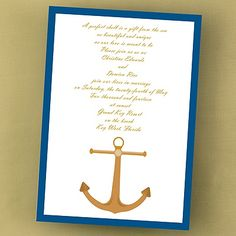 Perfect for your nautical wedding theme is this Nautical Dream Invitation with its anchor design. See this and many more invitation designs available at www.PrintedCreationsWeddingStore.com.