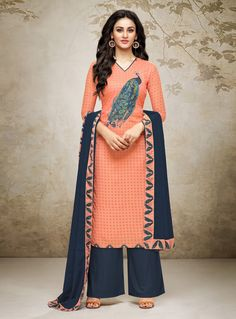Buy Orange Cotton Palazzo Style Suit 142293 online at lowest price from huge collection of salwar kameez at Indianclothstore.com.
