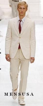 SKU#S81201 Highest Quality Two Button Style Ivory/Cream Suit Cool Lightest Weight Fabric Men's Suit Mens Discount Suits By Style and Quality White & Off White Suits    Price : US $295