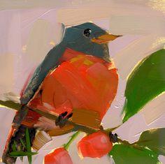 Robin no. 173 Art Print by Angela Moulton 6 x 6 inch