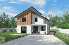 A beautiful example of contemporary architecture, this design has an exterior to impress and a spacious interior perfect for a modern family. Bungalow Exterior, Modern Exterior, Exterior Design, House Cladding, Timber Cladding, Self Build Houses, House Extension Design, Model House Plan, Timber Frame Homes