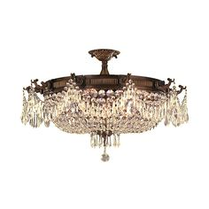 Worldwide Lighting Corp Winchester Antique Bronze 10-Light Semi-Flush ($1,178) ❤ liked on Polyvore featuring home, lighting, ceiling lights, light bulb chandelier, dimmable ceiling lights, semi flush ceiling lights, bulb light and incandescent light