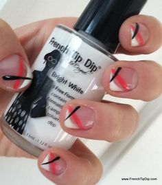 Do the corner french, then add stripes with striping brush!