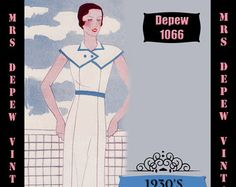 Vintage Sewing Pattern 1930's Dress in Any Size Depew 1066 Draft at Home Pattern - PLUS Size Included -INSTANT DOWNLOAD-
