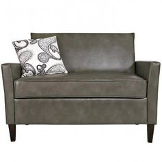 Sutton Loveseat in Renu Leather Gray Bark w/Feathered Charcoal Black & Cream Paisley Pillow