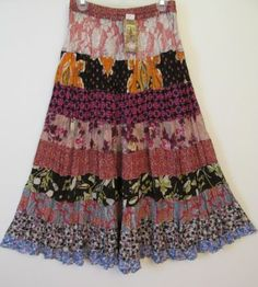 Maxi Rayon Crepe Tiered Long Design Skirt by Sacred Threads Size L NWT | eBay