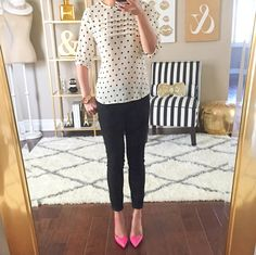 Polka dot pintucked blouse, pink pumps and black jeans   // http://www.stylishpetite.com/2015/05/shoes-spring-daily-outfits-and-y-clutch.html