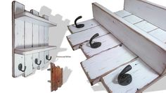 Reclaimed Wood Shelf Coat Towel Rack Hooks Rustic Cottage