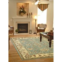 Shop Concord Global Hampton Rectangular Blue Floral Woven Area Rug (Common: 5-ft x 7-ft; Actual: 5.25-ft x 7.25-ft) at Lowes.com