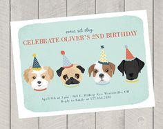 Children's Birthday Invite - Dog Theme Birthday Party Invitation