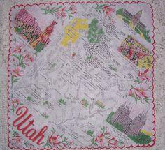 Utah state map-  red/pink flowers... [Handkerchief / Scarf]