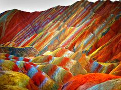 Rainbow Mountains in China's Danxia Landform Geological Park via Imagine China