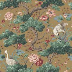 Crane Bird in Mustard Wallpaper By Woodchip & Magnolia Stag Wallpaper, Wallpaper Samples, Home Wallpaper, Magnolia Wallpaper, Bathroom Wallpaper, Flower Wallpaper, Wallpaper Ideas, Mustard Wallpaper, Japanese Bird