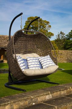 Rio Double Hanging Cocoon including Fawn Cushions (Product Code: FWCHR3)  Bramblecrest's Rio Double Hanging Cocoon; a delightful addition to any garden. Very comfortable with room enough for two! Our Rio Cocoon is maintenance-free and impervious to the elements.  find out more   http://www.bramblecrest.com/product/FWCHR3/