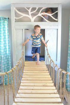 playroom reading nook with rope bridge