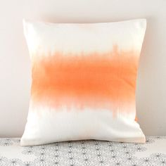 orange ombre // small cushion // hand dyed // hand made // organic cotton. $12.00, via Etsy.