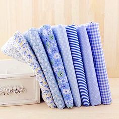 Blue Fabric Light Blue Bundle Flowers Fabric Cotton Fabric Sets for 7 each for Quilting Cloth Bag 50