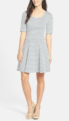 Cutest striped ponte knit dress. Great for spring or Easter.