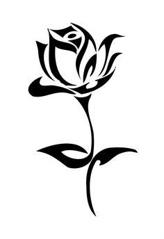 Black And White Tribal Rose Tattoo Design Stencil Patterns, Stencil Art, Rose Stencil, Stenciling, Rose Patterns, Painting Stencils, Stencil Designs, Tribal Rose Tattoos, Simple Tribal Tattoos