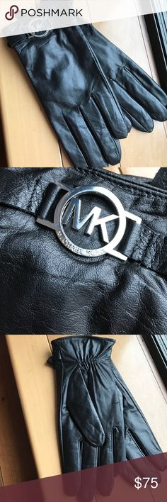 Michael kors black leather gloves Sz M Brand new pair of authentic leather gloves with silver tone MK logo . Missing tags MICHAEL Michael Kors Accessories Gloves & Mittens