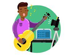 Singer) #singer #art #draw #vector #flat #illustration #adobe #illustrator #cartoon #people #design #character #boy