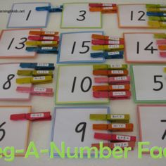 Peg-A-Number Fact is a fun maths game that allows kids to practise basic numbers sums and encourage the use of strategies to solve these problems.  Great alternative to worksheet and other games! #additionandsubtraction #mathematics #numberactivities