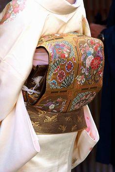 """nostalgia-gallery: """" Golden Kimono obi patterned flowers """""""