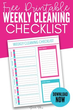 Keep your home clean and organized with this free printable weekly cleaning checklist printable! It will help you stay on top of daily tasks and keep your home cleaner! Cleaning Checklist Printable, Checklist Template, Printable Planner, Free Printables, Monthly Planner, Happy Planner, Spring Cleaning, Cleaning Hacks, Cleaning Routines