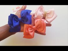 Laço Asiático - YouTube Headband Tutorial, Bow Tutorial, Instruções Origami, How To Make Ribbon, Ribbon Art, Hair Pins, Headbands, Dots, Elsa