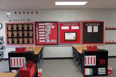 Classroom walls tip simple color scheme - clutter-free classroom Red Classroom, Classroom Layout, Classroom Walls, Classroom Setting, Classroom Design, Future Classroom, Classroom Themes, School Classroom, Space Classroom