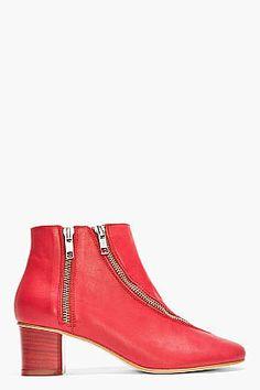 Block-Heel Boot: Acne Studios Red Leather Two-Zip Marlie Boots ($610)