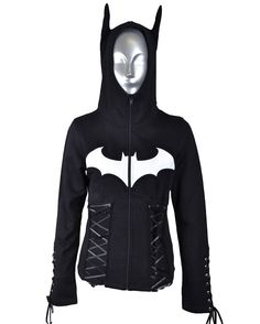 Batman Hoodie with Corset Lacing