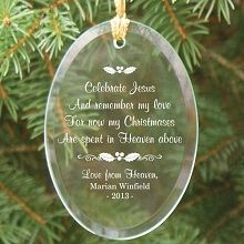 Christmas In Heaven Personalized Oval Glass Ornaments