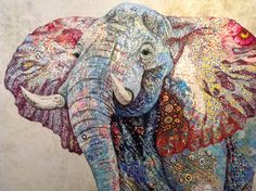 Amazing Bull Elephant quilt by Sophie Standing using Kaffe Fassett fabric. Bull Elephant, Elephant Quilt, Bordados E Cia, Quilt Modernen, Animal Quilts, Landscape Quilts, Applique Quilts, Embroidery Art, Machine Embroidery